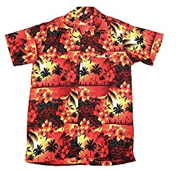 Mens Hawaiian Shirt Stag Beach Hawaii Aloha Party Summer Holiday Fancy Turtle (L, Red Paradise)