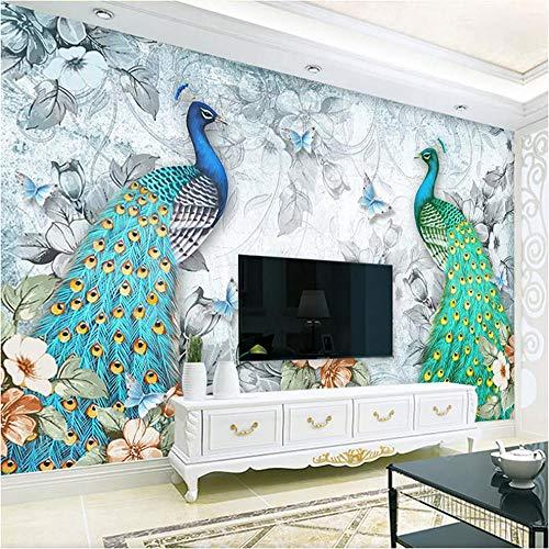 Benutzerdefinierte jeder Größe 3D Wall Paper Peacock Flower Butterfly TV Hintergrund Fototapete Tapete für Schlafzimmer Wände Modern
