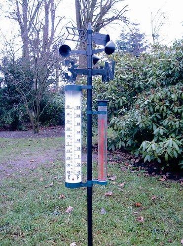 Megaprom XL Wetterstation Barometer Thermometer Gartenthermometer - 150cm Hoch mit 4 Funktionen