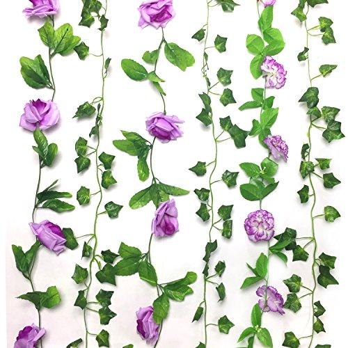 Pietydeko 3 ghirlanda di rose fiore pianta artificiale e 3 edera rampicante ghirlanda per hotel, uffici, feste di nozze, giardini - viola