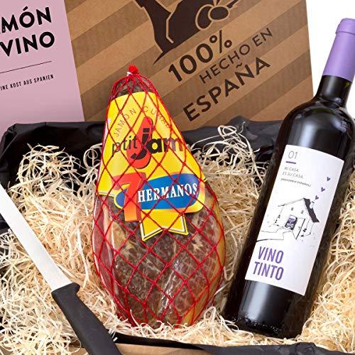 """Delikatessen-Präsentkorb """"Jamón y Vino"""" mit Serrano-Schinken & Rotwein aus Spanien – Verpackt in der spanischen Geschenk-Box inklusive Schinkenmesser"""