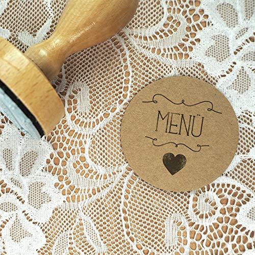 Stempel Hochzeit - Menü - Serie: Herzchen - Menükarten Tischkarten