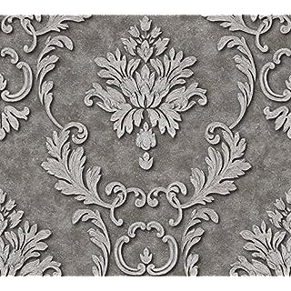 Architects Paper Vliestapete Luxury wallpaper Tapete neo-barock 10,05 m x 0,53 m grau metallic Made in Germany 324225 32422-5