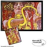 Set: 1 Fußmatte Türmatte (70x50 cm) + 1 Mauspad (23x19 cm) - Gustav Klimt, Hygieia, Detail aus der Medizin, 1900-1907