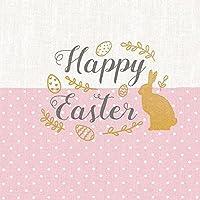 """Serviette Papierserviette """"Easter Lettering rosa"""" 5/20 Stück mehrlagig Servietten Tischdeko basteln Serviettentechnik 33x33cm"""