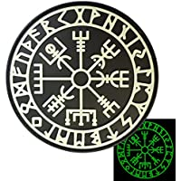 Glow Dark Vegvisir Viking Compass Norse Rune Morale Tactical PVC Rubber 3D Hook-and-Loop Patch