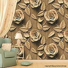 Paper Plane Design Premium Self Adhesive Sticker Wallpaper. Theme - 3D Golden Brown Roses