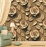 #7: Paper Plane Design Premium Self Adhesive Sticker Wallpaper. Theme - 3D Golden Brown Roses (5.5 sq ft)