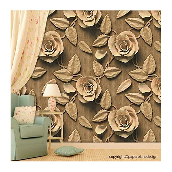 Paper Plane Design Self Adhesive Sticker Wallpaper. Theme - 3D Golden Brown Roses