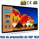 """Tela de proyección Lux-Screen 100"""" Formato 16:9 Superficie de 3 Capas Blanco Mate y Borde perimetal Negro, Pantalla para proy"""