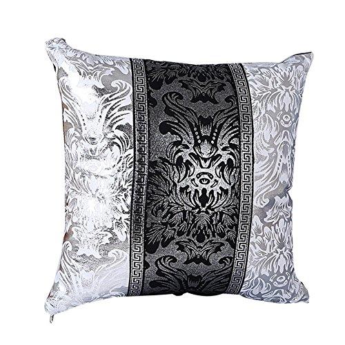 Lumanuby 1x Vintage Plata Flor Y Viña de funda de cojín blanco y negro color mezclar algodón almohada...