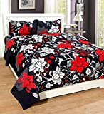 #7: Royal Ethnic Rectangular Cotton Double Bedsheet with 2 Pillow Covers - Floral (Black Maroon)