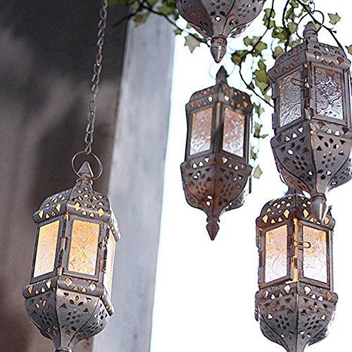 Hueca Retro Hierro forjado candelabro lámpara araña/16inch