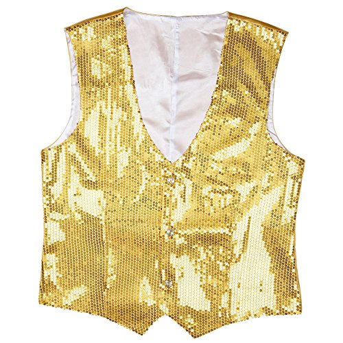 Widmann 9322G - Pailletten Weste für Männer, L (Gold Kostüm Männer)