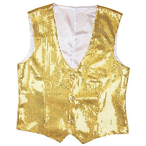Goldenes Kostüm (Widmann 9322G - Pailletten Weste für Männer,)