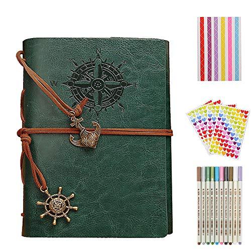 Gudotra Kit Album Foto Retro Verde+10Metallici Penne+9Adesivi Colorati Scrapbooking per San Valentino Compleanno Matrimonio Natale...