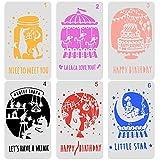NouveLife Lot de 6 Pochoir Plastique Happy Birthday Pochoir Anniversaire...