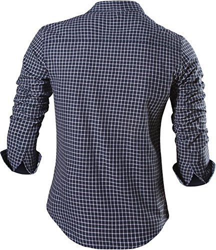 Jeansian Homme Chemises Casual Manches Longues Mode Men Tops Shirt Fashion Long Sleeves Slim Fit Dress Shirt 8615 Navy