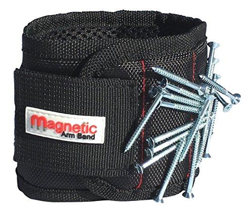 Armband mit Magnetverschluss, Magnet-Armband–10starke Neodym-Magnete im Armband für Nägel, Schrauben, Bohrer, Klemmen, Unterlegscheiben, Bolzen, kleine Werkzeuge und vieles mehr.