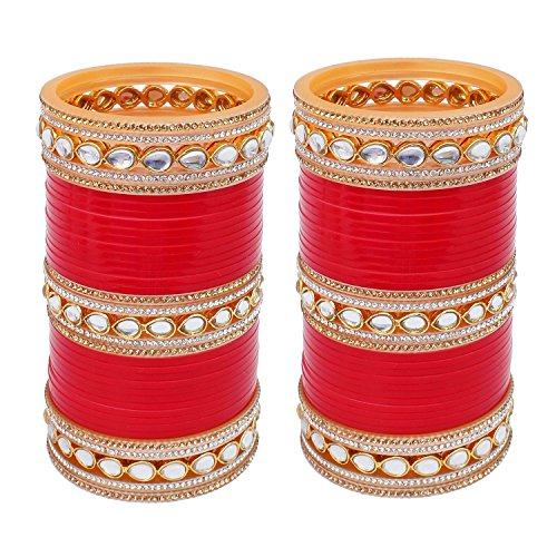 Lucky Jewellery Red Designer White Kundan & Golden Stone Bridal Chuda Fashion Punjabi Choora Wedding Chura Set For Women