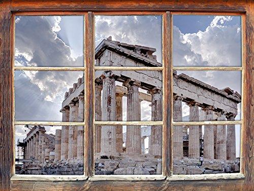 Colonne antiche in Grecia, la finestra adesivi murali 3D Formato: Decorazione della parete 92x62cm 3D (Colonne Lisce)
