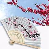 Danyoun pliant Hand Held Fan pour femme en soie Fleurs de cerisier en bambou pliable Fans Main pliée Fan Rouge Motif Plum Blossom avec cadre en bambou pour église Cadeau de mariage, des cadeaux, décoration DIY...