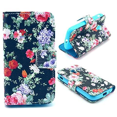 PU Leather Coque pour Samsung Galaxy Ace 2 i8160 - Aohro Wallet Flip Stand Cover Case Cuir Portefeuille Housse Etui avec Card Slots + Stylus Pen--Style 03