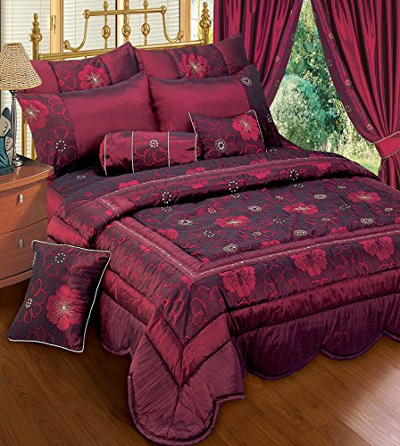 Price comparison product image Zara Quilted Floral Embroidered Burgundy / Wine Bedspread / Comforter Set Throw Single Bed
