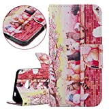 Microsoft Lumia 640 Case, Lumia 640 Wallet Case, Nokia Flip Cover, Elegant PU Leather Cover for Microsoft Lumia 640 - Fashion Colorful Painted Bookstyle Cell Phone Case Luxury Pu Leather Wallet Magnetic Design Mobile Cover Protect Skin Stand Case Pouch with Card Holder - cat cherry pink