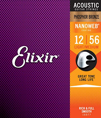 Elixir 16077 Acoustic Guitar Saiten 6 Acoustic Phosphor Bronze Nanoweb Coating Light-Medium