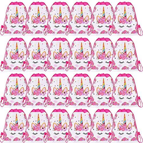 SIQUK 24 Packs Kordelzugbeutel Einhorn Rucksäcke Einhorn Drawstring Party Bags Geschenktüten Party Supplies Favors Taschen für Einhorn Themed Party