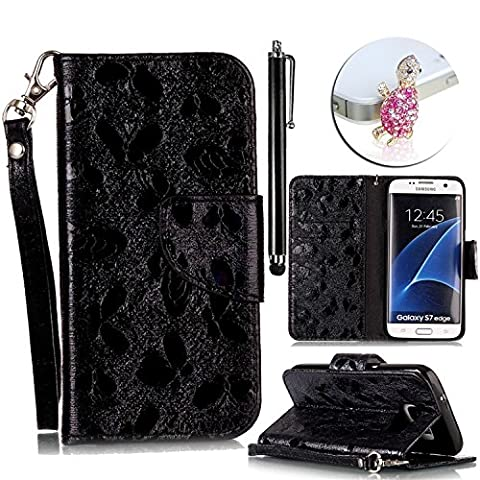 Coque Samsung Galaxy S7 Edge Cuir Etui Housse à Clapet pour Samsung Galaxy S7 Edge PU Cuir Case Motif Belle Papillon Fleur Cover avec Format Portefeuille Élégant Glitter Bling Brillant Laser Case avec Fente pour Carte de Crédit et Fonction Support, Vandot 3 en 1 Coque pour Samsung Galaxy S7 Edge SM-G935F Ultra Slim Flip Magnetic Cuir Etui Leather Wallet Housse Poche Couverture +Adorable Diamant Plug Casque + Universal Stylet - Noir