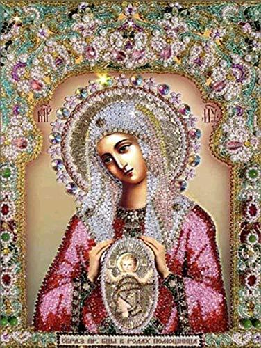 HAHEZDY 5D DIY Square Diamond Painting Drawing Crafts Religion Icon Bendita Virgen María Y Jesús Retratos Religiosos Kits De Decoración DeTaladro Completo,40X50CM