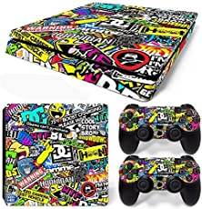 Elton Bomb ( Multicolor , Standard ) Theme 3M Skin Sticker Cover for PS4 Slim Console and Controllers