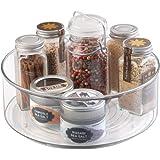 mDesign roterande köksförvaring — rund kryddhylla i plast — förvaringsbricka med hög kant för kryddor, oljor och andra matlag