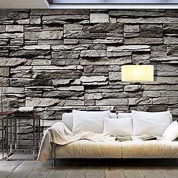 Fototapete 3d Effekt Black Stonewall Wandbild Dekoration Tapete in ...