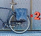 BIKEZAC® Clip-On EINKAUFS-FAHRRADTASCHE | Einseitige Einkaufstasche | Gepäckträgertasche | Faltbar | Wasserabweisend | Trageschlaufen | Ökologisch, BikeZac:Black Plain 2 x