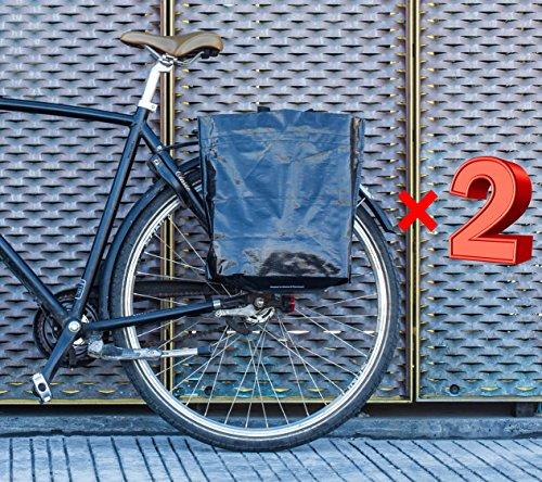 BIKEZAC® Clip-On EINKAUFS-FAHRRADTASCHE   Einseitige Einkaufstasche   Gepäckträgertasche   Faltbar   Wasserabweisend   Trageschlaufen   Ökologisch, BikeZac:Black Plain 2 x