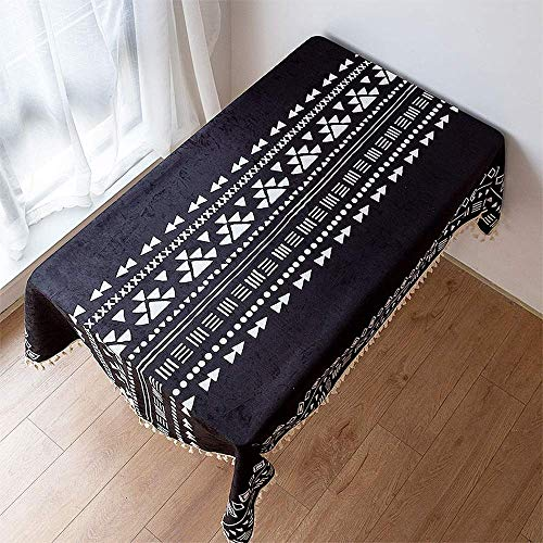 SCJ Streifen Quaste Tischdecke Baumwolle Leinen staubdicht Tischabdeckung für Küche Esstisch Dekoration (Rechteck/länglich, 55 x 90,5 Zoll) (Farbe: E, Größe: 55 * 70,8 Zoll)