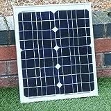 Panel Solar 12V 20W para Camping, Cargar Baterías 12V, Caravanas, Coche - Panel Solar Portátil Monocristalino de PK Green