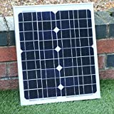 PK Green Solarpanel 20W 12V + Kabel - Solarmodul Monokristallin für Camping, Autobatterie, 12V Batterie, Wohnmobil