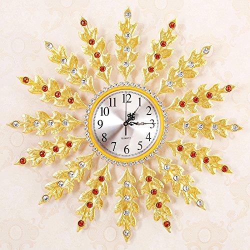 WuuLii Decor Wanduhr-Kunst Uhren-Kunst Wanduhr Stille Scan Metall Einfache Blatt Wanduhr