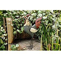 Best Value Here Colourful Cockerel Rooster Garden Patio Ornament Metal Sculpture Farmyard Chicken Rooster Decorative Figure (Black Cockerel)