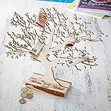 Geldbaum aus Holz mit Gravur – Personalisiert mit [NAMEN] und [DATUM]– Motiv Tauben – Foto-Baum – Geld-Geschenke Verpackung zur Hochzeit – 29 cm hoch – Groß