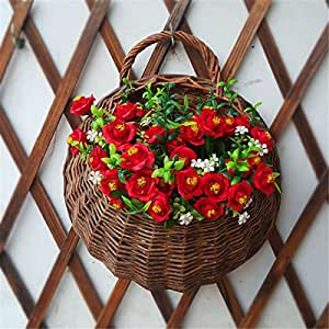 Aissimio Artificial Flowers Wall Mounted Basket Wall hanging plant pots Wicker Wall Basket Hanging Planters for Garden Wedding Wall Home Decoration Door Decor Not Include Flower