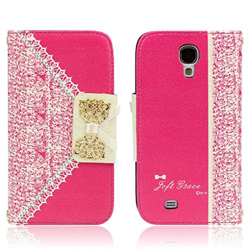ukamshop-cute-pink-lace-bow-flip-wallet-leather-case-cover-samsung-galaxy-s4-hot-pink