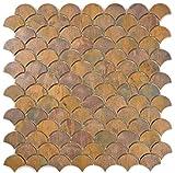Mosaik Fliese Kupfer kupfer Fächer braun für WAND BAD WC DUSCHE KÜCHE FLIESENSPIEGEL THEKENVERKLEIDUNG BADEWANNENVERKLEIDUNG Mosaikmatte Mosaikplatte