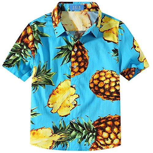 SSLR Jungen Hemd Kurzarm Hawaiihemd mit Ananas Baumwolle Freizeithemd Aloha Shirt (Medium (9-11Jahren), Himmel Blau) -