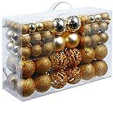 Unbekannt Christmas Gifts 100 x Weihnachtskugeln, Plastik, Gold, 12.1 x 35.7 x 23.4 cm