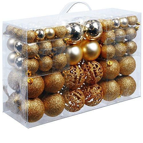 Weihnachtskugeln 100 Stück Gold – Christbaumkugeln Baumschmuck Weihnachtsbaumschmuck